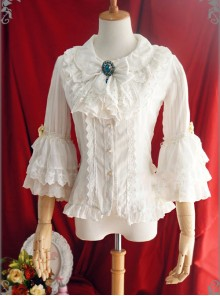 White Or Blue Chiffon Lace Doll Collar Bowknot Classic Lolita Trumpet Sleeve Shirt