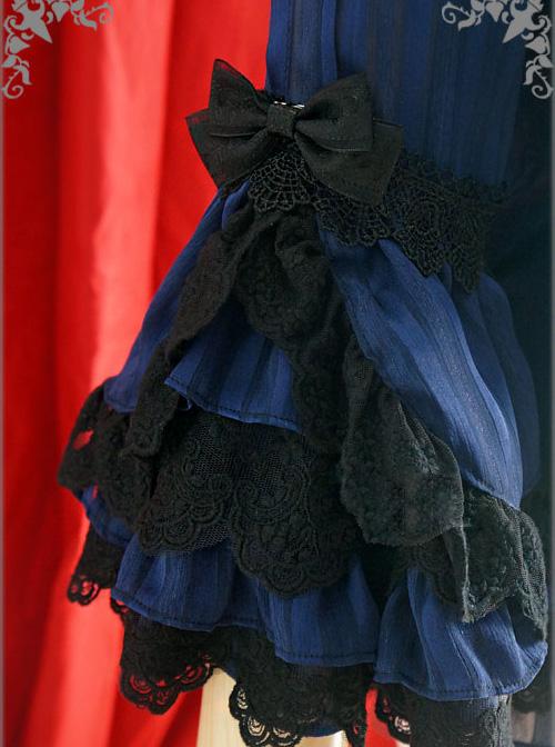 White Or Blue Chiffon Lace Doll Collar Bowknot Classic Lolita Trumpet Sleeve Shirt