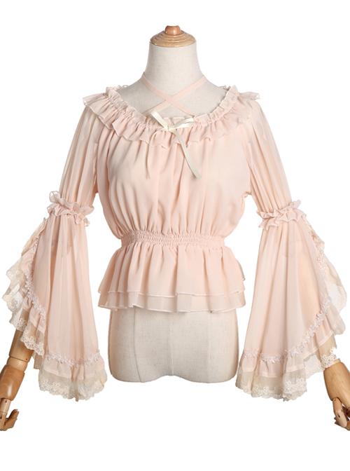 Pure Color Chiffon Lace Classic Lolita Trumpet Sleeve Shirt