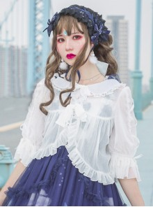 White Chiffon Doll Collar Classic Lolita Seven-quarter Sleeve Anti-sunburn Shirt