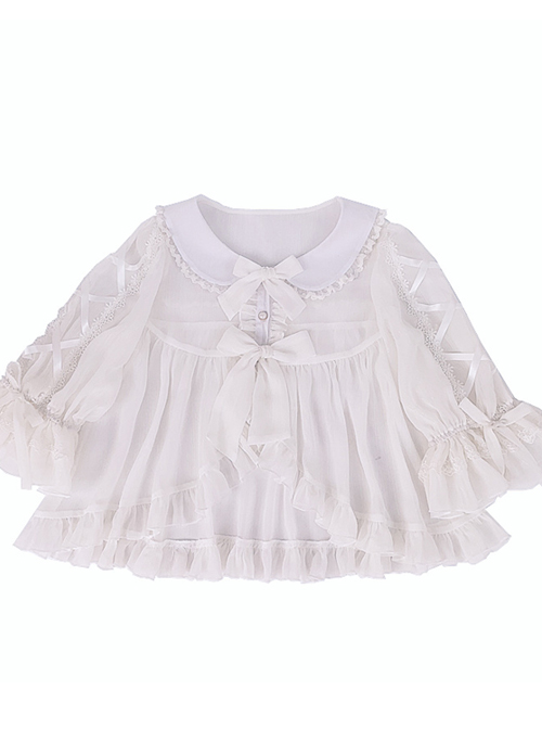 White Chiffon Doll Collar Classic Lolita Seven-quarter Sleeve Anti-sunburn Shirt