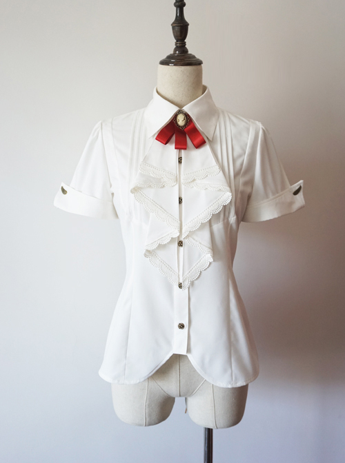 Researcher Series White Lapel Classic Lolita Short Sleeve Blouses With A Bow Tie