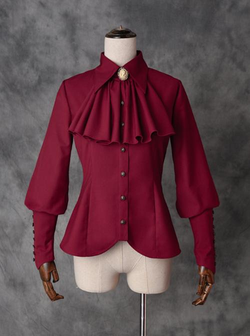 Drunk Dream Series Lapel Shirt Gothic Lolita Slim Sheep-leg Sleeves Blouses