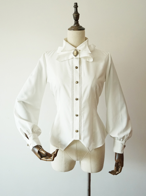 Staff Officer Series Pure Color Standing Collar Classic Lolita Long Sleeve Blouses