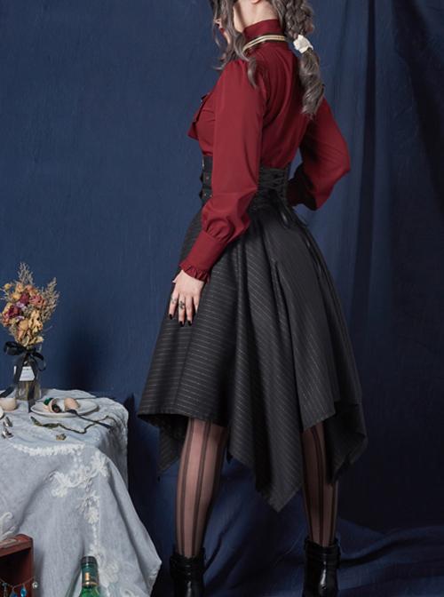 Explorers Series Pure Color Lapel Bow Tie Gothic Lolita Long Sleeve Blouses