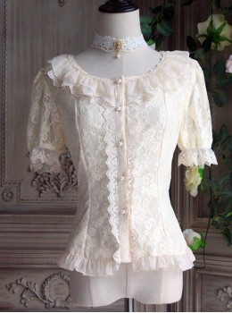 The Poetry Of Roses Series Elegant Lace Daily Short Sleeve Trumpet Sleeves Two Wearing Ways Classic Lolita Shirt