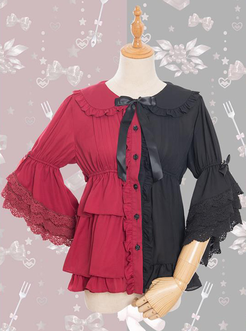 Magic Tea Party Chocolate Rabbit Series Two-color Sweet Lolita Trumpet Sleeve Shirt