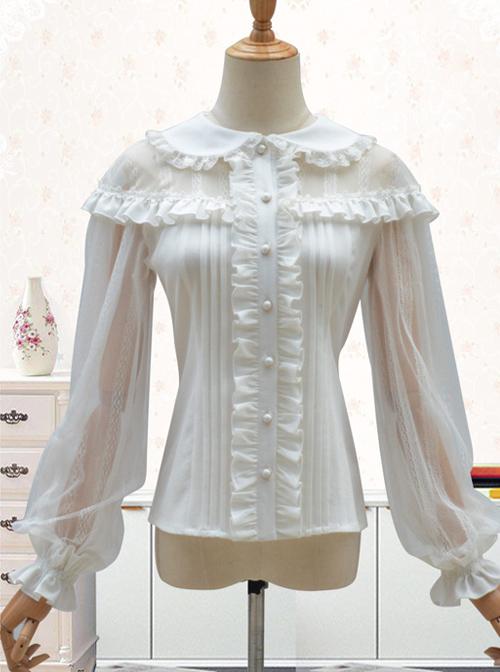 Doll Collar Lace Chiffon Long Sleeve Blouses Classic Lolita Lantern Sleeve Shirt