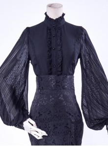 Lorelei Series Stand-up Collar Chiffon Gothic Lolita Ruched Long Sleeve Shirt