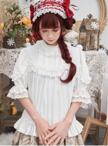 Full-blown Flowers Series Chiffon Lace Loose Sweet Lolita Half Sleeve Shirt
