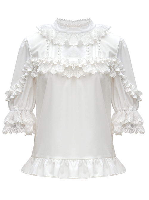 Full-blown Flowers Series Chiffon Lace Loose Sweet Lolita Half Sleeve Shirt