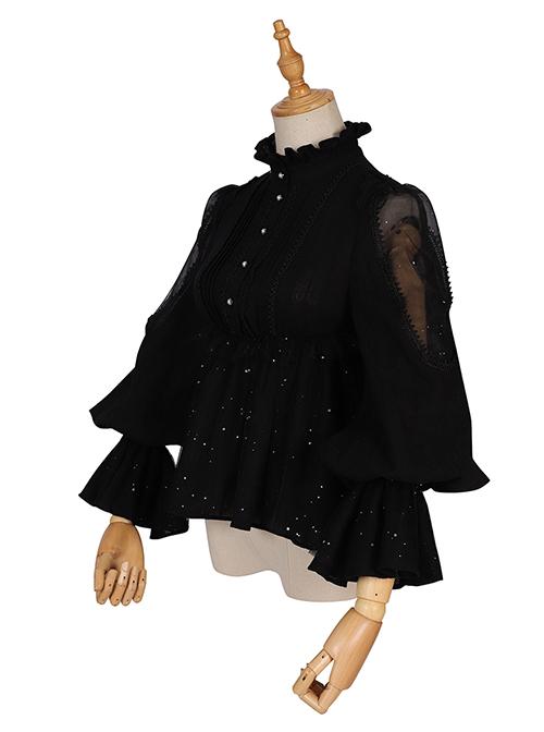 Divine Salvation Series Retro High Collar Gothic Lolita Long Sleeve Shirt