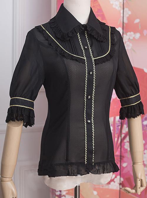 Strawberry Witch *The Fairytale Drama Of Chibor* Series Retro Slim Classic Lolita Short Sleeve Shirt