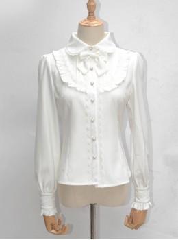Lace Ruffle Retro Velveteen Lining Long Sleeve Classic Lolita Shirt