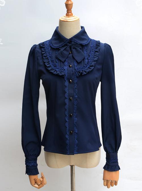 Lace Ruffle Retro Long Sleeve Classic Lolita Shirt