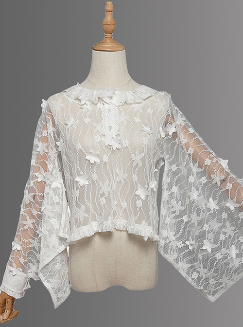 Magic Tea Party Fireworks Festival Series Lace Round Neck Classic Lolita Japanese Style Long Sleeve Shirt
