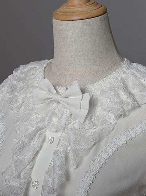 Magic Tea Party Breeze Alice Series Chiffon Bowknot Lace Ruffle Classic Lolita Long Sleeve Shirt