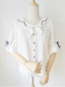 Ribbon Bowknot Ruffle Chiffon Short Sleeve Shirt Sweet Lolita Blouse