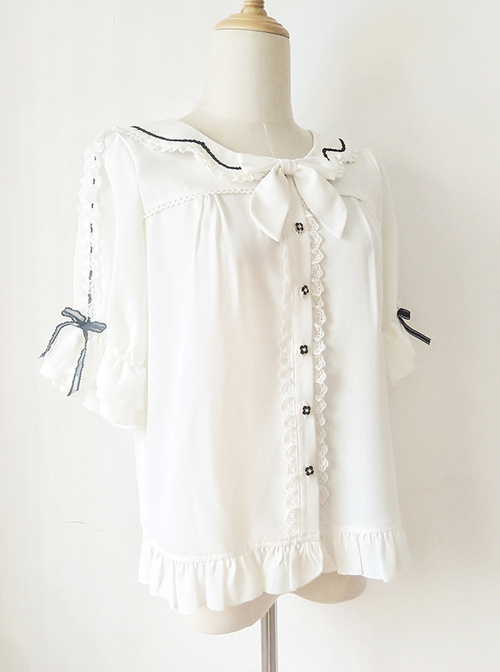 Ribbon Bowknot Ruffle Chiffon Short Sleeve Shirt Sweet Lolita Blouse