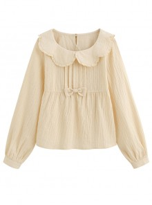 Petal Collar Jacquard Long Sleeve Sweet Lolita Shirt