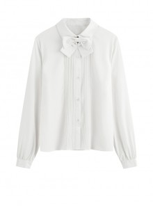 Simple Bowknot Elegant Long Sleeve Classic Lolita Shirt