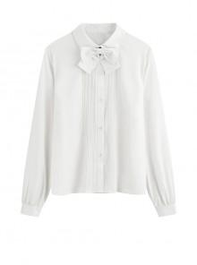 Simple Bowknot Elegant Long Sleeve Classic Lolita Shirt