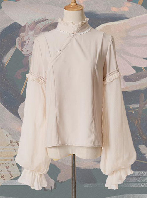 Chinese Style Beige Stand Collar Classic Lolita Long Sleeve Shirt