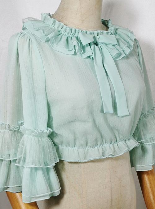 Ruffle Multicolor Chiffon Trumpet Sleeve Sweet Lolita Shirt