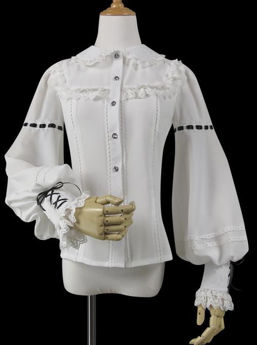 Round Neck Lantern Sleeve Long Sleeve Classic Lolita Lace Chiffon Shirt