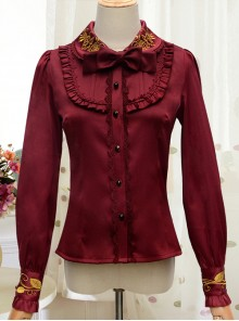 Autumn Dew Series Lapel Embroidery Classic Lolita Autumn Winter Long Sleeve Shirt