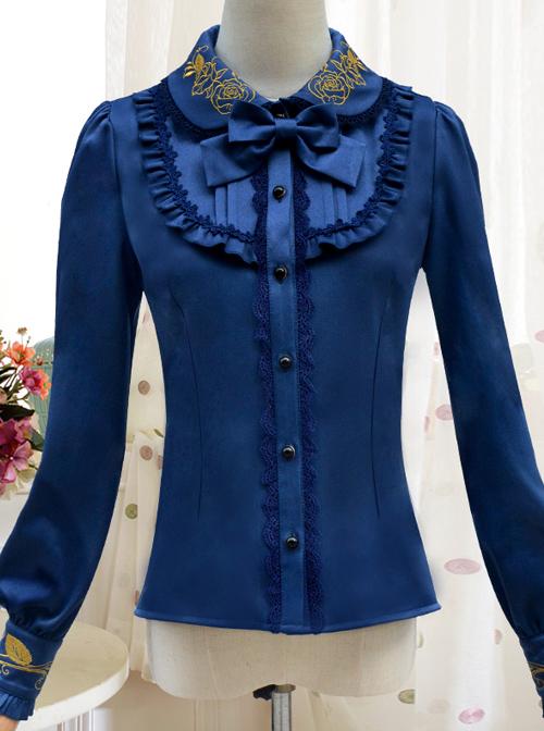 Autumn Dew Series Lapel Embroidery Classic Lolita Autumn Winter Long Sleeve Shirt