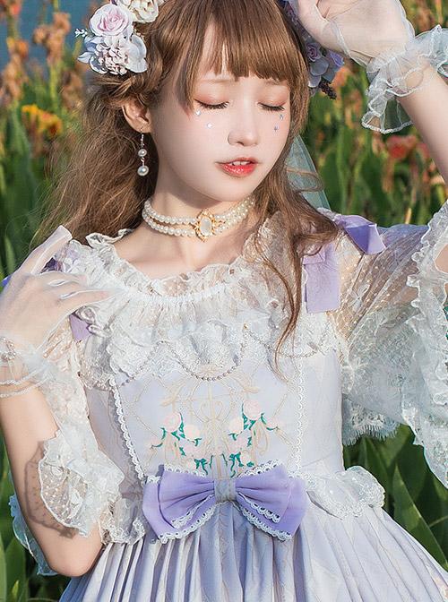 Bowknot Lace Off Shoulder Classic Lolita Short Sleeve Shirt