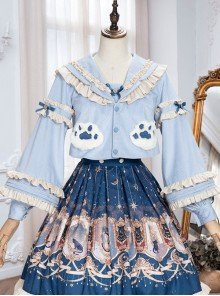 Explore The Stars Series Ruffle Blue Sweet Lolita Long Sleeve Cute Short Shirt