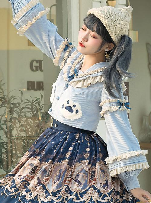 Explore The Stars Series Ruffle Blue Sweet Lolita Long Sleeve Cute Short Shirt