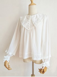 White Chiffon Pointed Collar Classic Lolita Puff Sleeve Long Sleeve Shirt