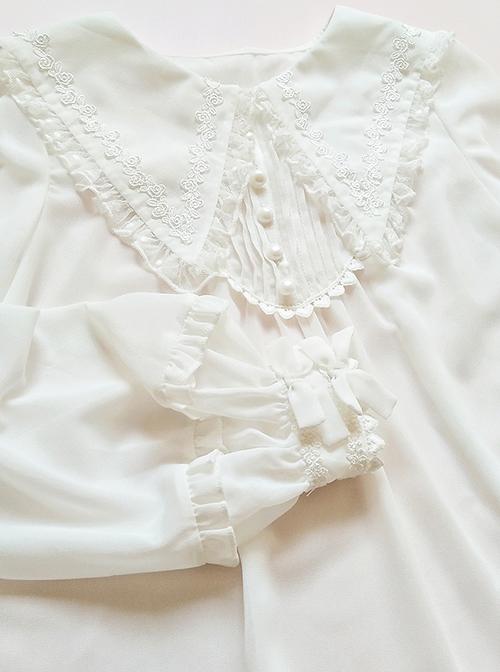 White Chiffon Pointed Collar Classic Lolita Puff Sleeve Long Sleeve Shirt