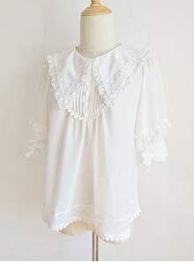 Pointed Collar White Chiffon Sweet Lolita Puff Sleeve Short Sleeve Shirt