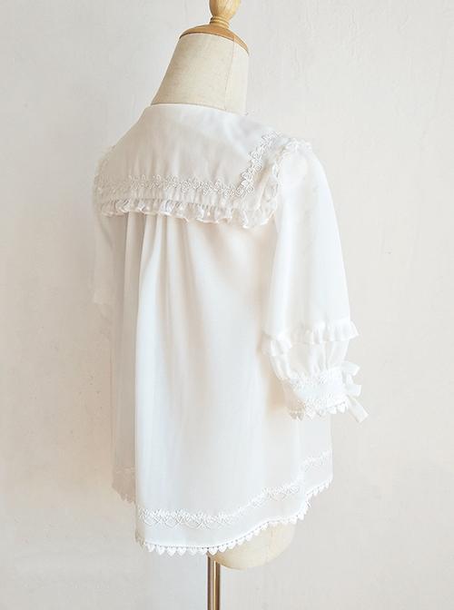 Pointed Collar White Chiffon Sweet Lolita Puff Sleeve Short Sleeve Shirt