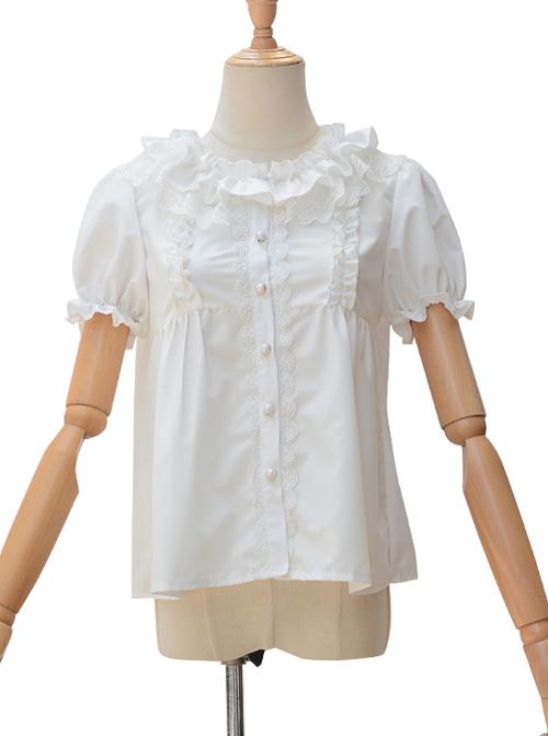 Fog Island Listening Wind Series Sweet Lolita White Cotton Short Sleeve Shirt