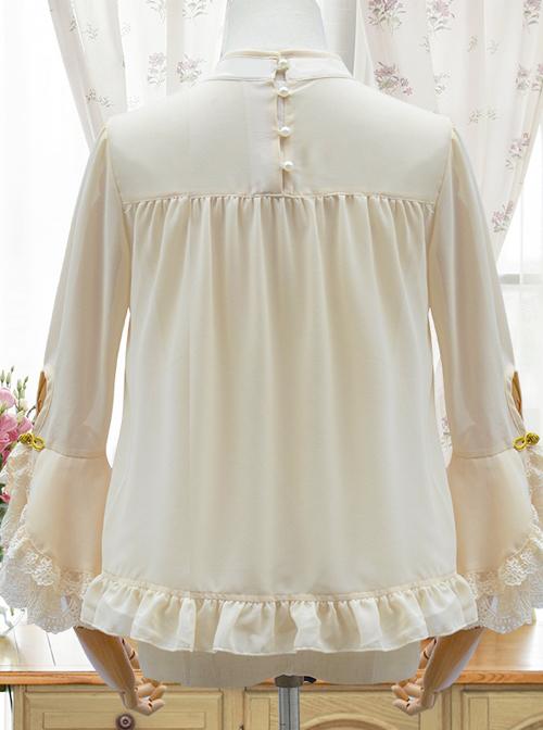 Apricot Chiffon Ruffle Chinese Style Small Stand Collar Classic Lolita Shirt