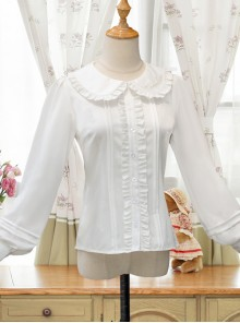 White Doll Collar Embroidery Sweet Lolita Long Lantern Sleeve Shirt