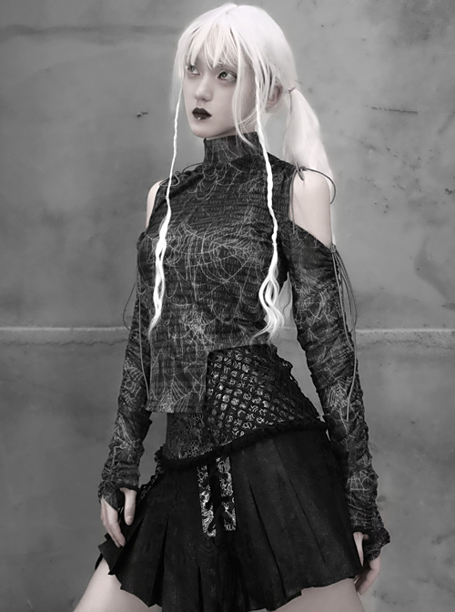 Gothic Cobweb Printing High Collar Drawstring Splicing Long Sleeve Shirt