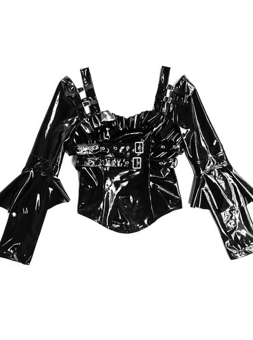 Mechanical Breakdown Series PU Soft Leather Slim Gothic Long Sleeve Shirt