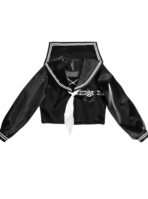 Mechanical Breakdown Series Gothic Improved JK Uniform PU Long Sleeve Top