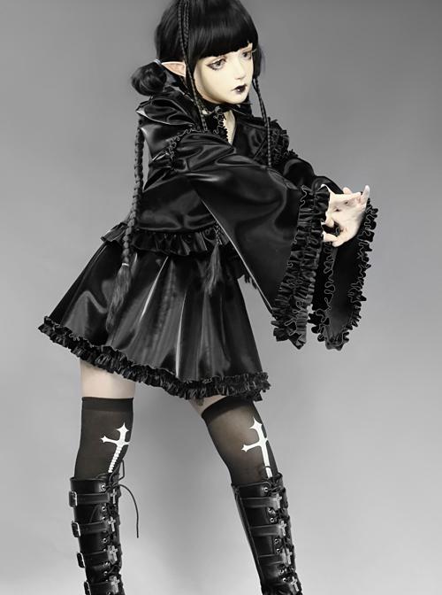 Mechanical Breakdown Series Black Gothic PU Ruffle Short Suit Jacket