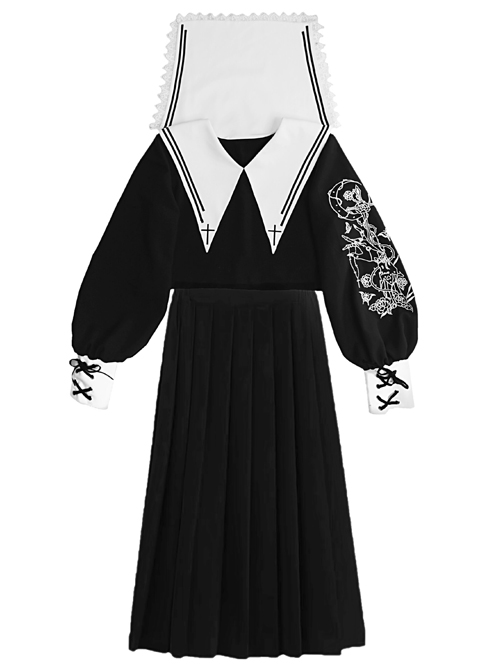 Kill The Nun Series Pointed Collar Embroidery Gothic Shirt And Skirt Set