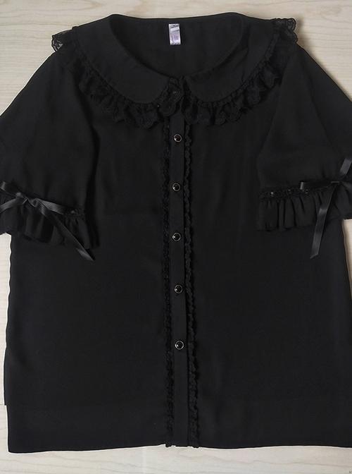 Cute Doll Collar Short Sleeve Chiffon Sweet Lolita Shirt