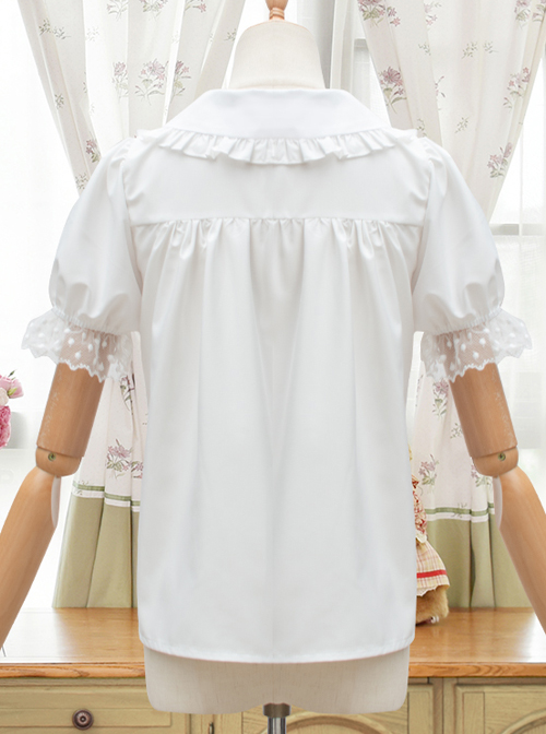 Evening Star Series White Cotton Embroidery Doll Collar Sweet Lolita Short Sleeve Shirt