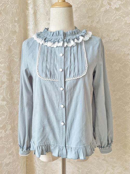 Easy Matching Pure Cotton Ruffle Collar Classic Lolita Long Sleeve Shirt