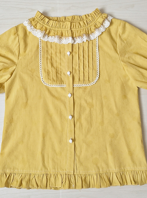 Cotton Ruffle Collar Pure Color Classic Lolita Easy Matching Short Sleeve Shirt